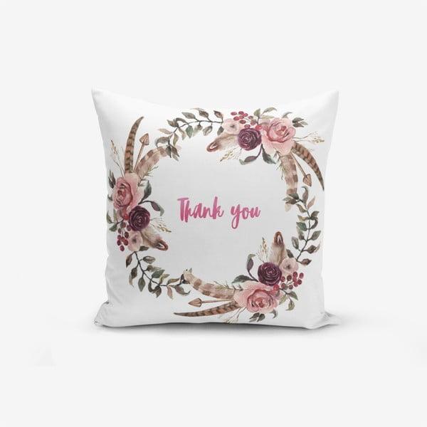 Față de pernă cu amestec din bumbac Minimalist Cushion Covers Thank You, 45 x 45 cm