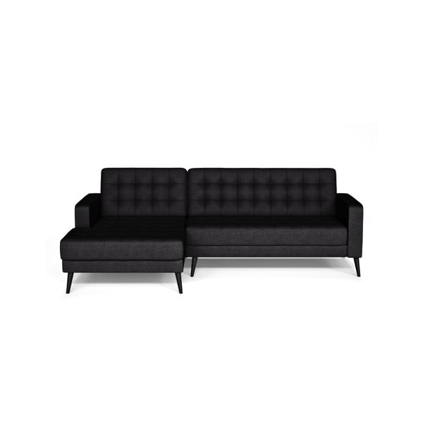Czarna sofa lewostronna Corinne Cobson Home Boston