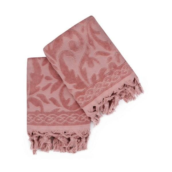 Sada dvou růžových ručníků v odstínu dusty rose Bohème, 90x50cm