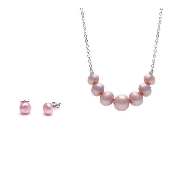 Sada náhrdelníku a náušnic z říčních perel Chain, růžová
