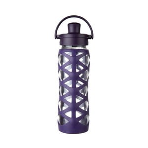 Sticlă de voiaj, din sticlă cu protecție din silicon, Lifefactory Aubergine Activ, 650 ml