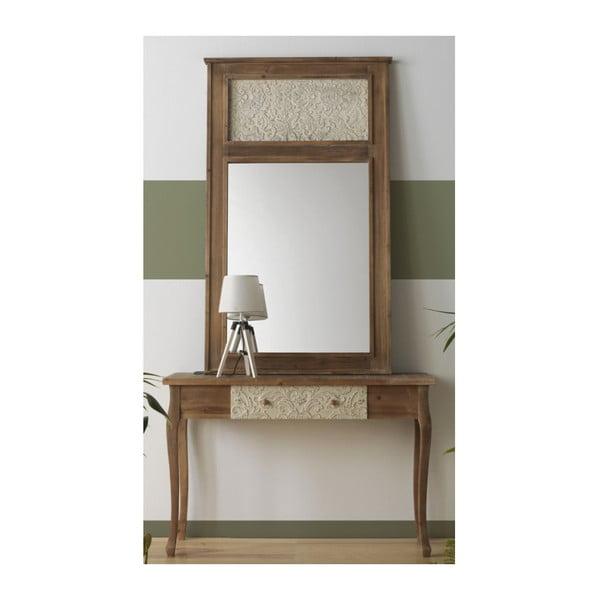 Nástěnné zrcadlo v dřevěném rámu Geese Fionne, 150x90cm