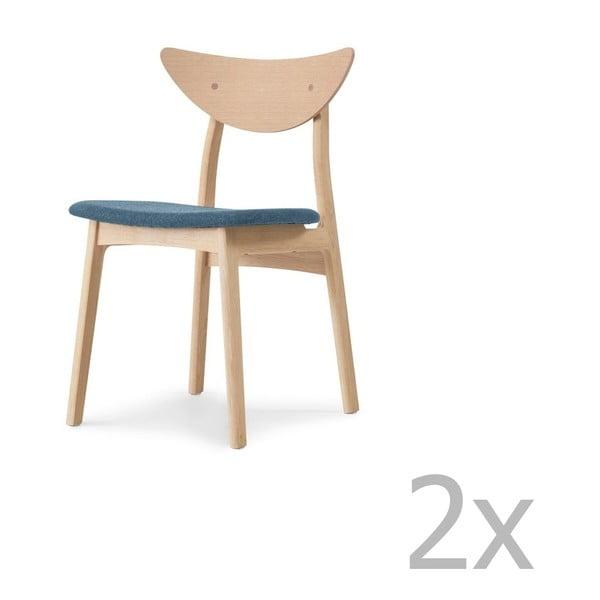 Sada 2 jídelních židlí z masivního dubového dřeva s modrým sedákem WOOD AND VISION Chief