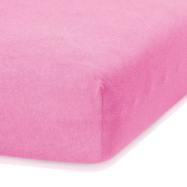 Cearceaf elastic AmeliaHome Ruby, 200 x 80-90 cm, roz închis