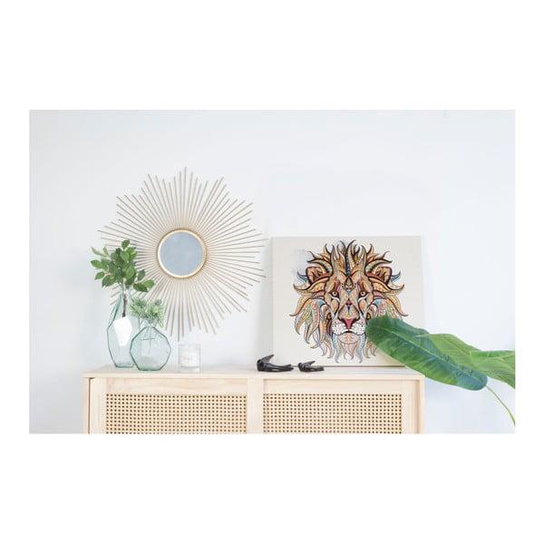 Dřevěná nástěnná dekorativní cedule Surdic Lino Lion, 50 x 70 cm