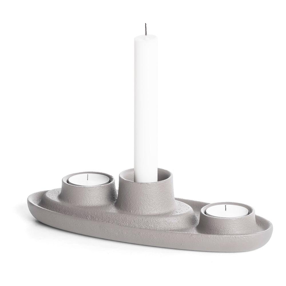 Světle šedý svícen EMKO Aye Aye Three Candles