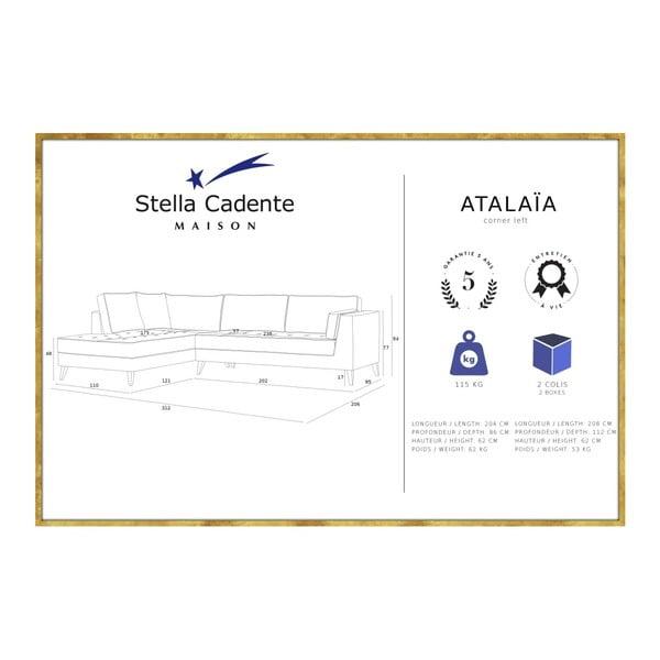 Tyrkysová rohová pohovka Stella Cadente Maison Atalaia, levý roh