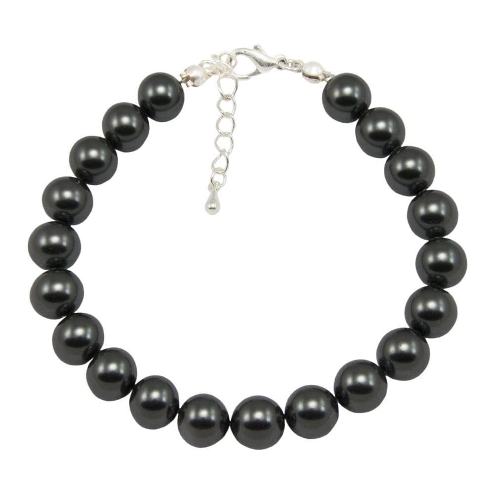 Černý náramek Swarovski Elements Crystal s perlami Musaventura