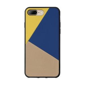 Béžový kožený obal na mobilní telefon pro iPhone 7 a 8 Plus Native Union Clic Marquetry