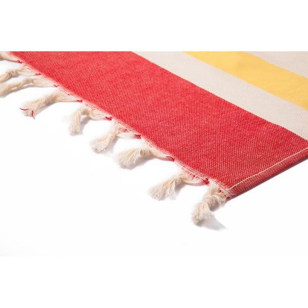 Červenobéžová hammam osuška Begonville Form, 95x175cm