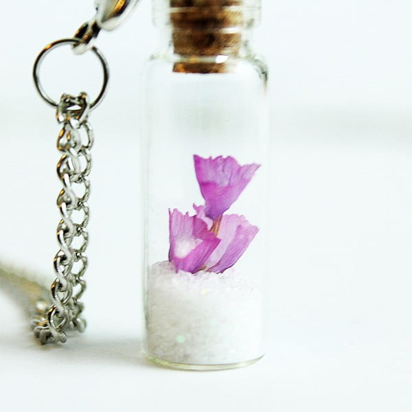 Náhrdelník Wish Bottle and Silver Flowers
