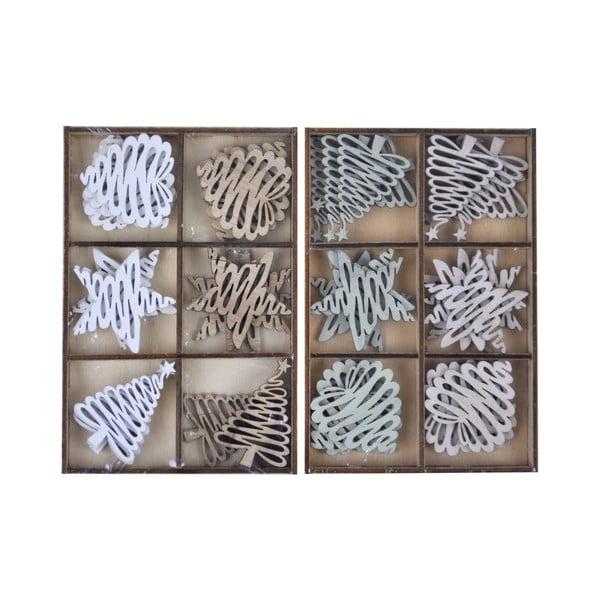 Komplet 24 wiszących ozdób drewnianych Ego Dekor Winter