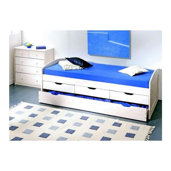 Bílá dřevěná jednolůžková postel s úložným prostorem 13Casa Moon, 90x200cm