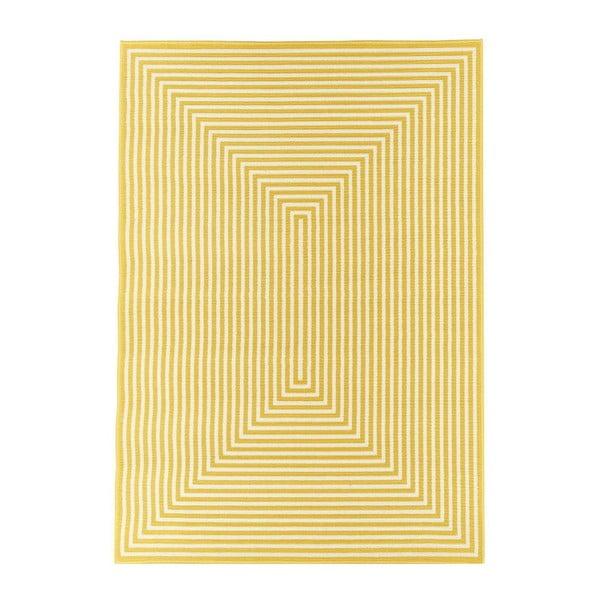 Žltý vysokoodolný koberec vhodný do exteriéru Floorita Braid, 160x230cm