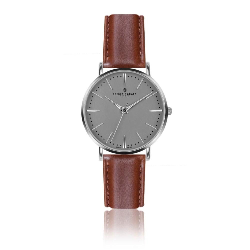Pánské hodinky se světle hnědým páskem z pravé kůže Frederic Graff Silver Eiger Cognac Leather