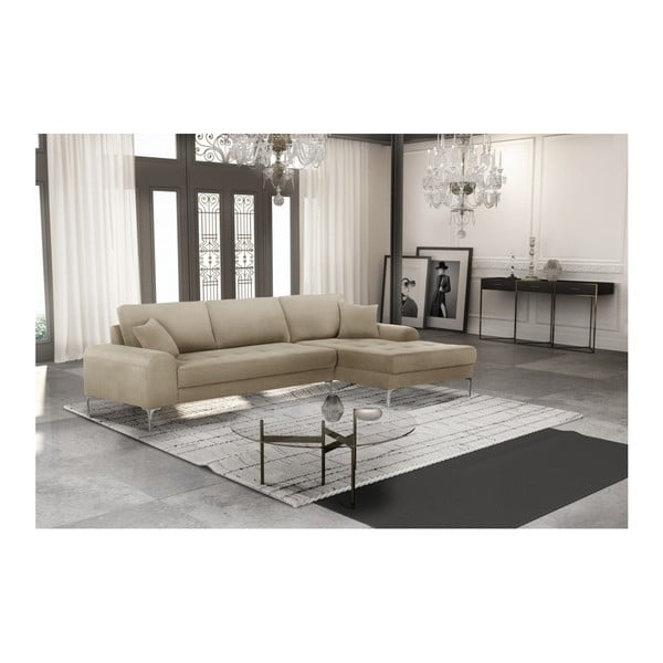 Set canapea taupe cu șezlong pe partea dreaptă, 4 scaune albastre și saltea 160 x 200 cm Home Essentials