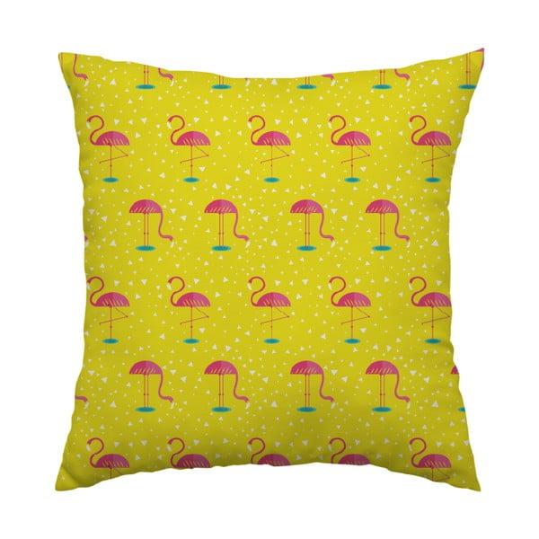 Polštář Yellow Flamingo, 40x40 cm