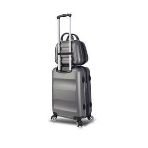 Sada šedého cestovního kufru na kolečkách s USB portem a příručního kufříku My Valice LASSO MU & Cabin