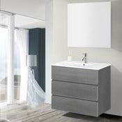 Koupelnová skříňka s umyvadlem a zrcadlem Nayade, odstín šedé, 80 cm