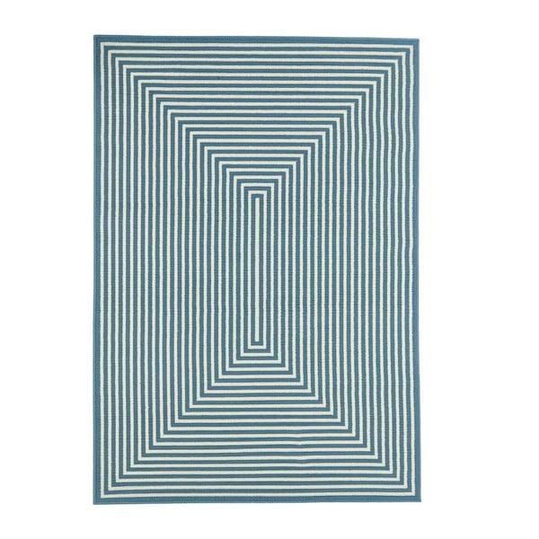 Modrý venkovní koberec Floorita Braid, 133 x 190 cm