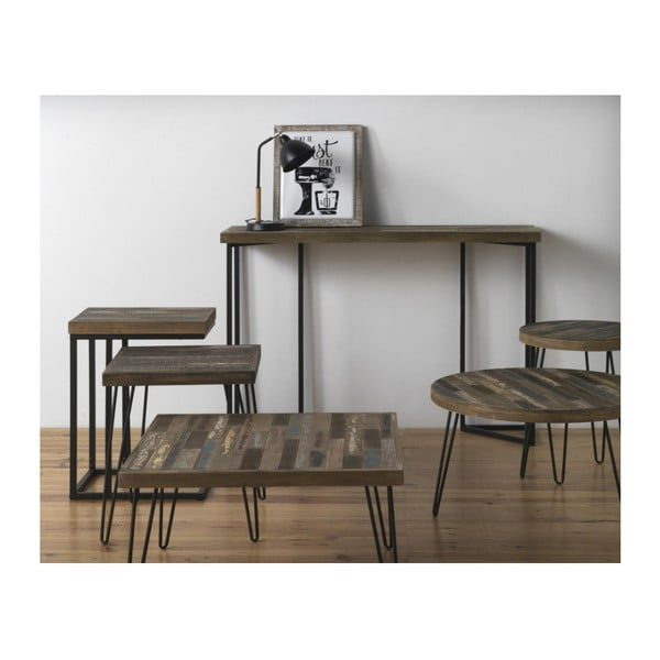 Odkládací stolek s deskou z jilmového dřeva Geese Rea, výška 52cm