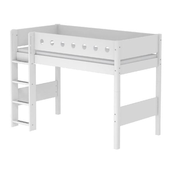 Bílá vyšší dětská postel s žebříkem Flexa White Single, 90x200cm