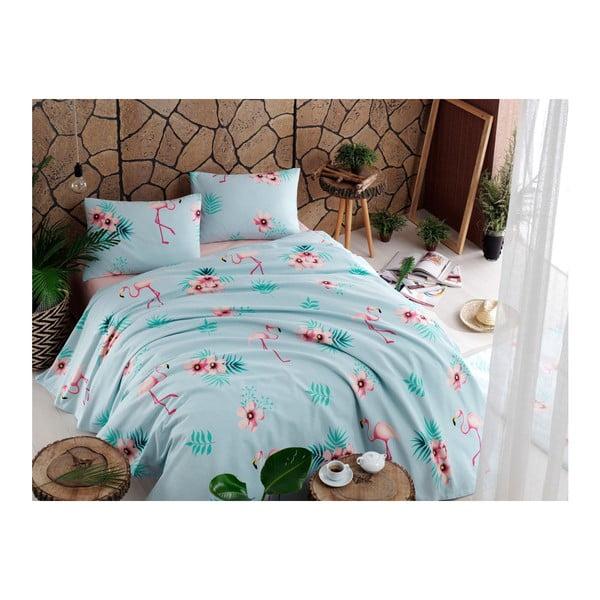 Flamenco Mint pamut ágytakaró, lepedő és 2 párnahuzat szett, 200 x 235 cm