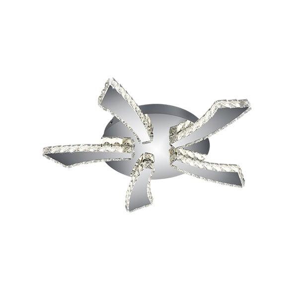 Lampa sufitowa LED z metalu i szkła w srebrnym kolorze Trio Phin, średnica 55 cm