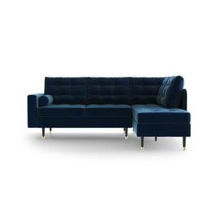 Tmavě modrá rohová pohovka Daniel Hechter Home Aldo Dark Blue, pravý roh
