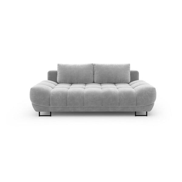 Canapea extensibilă cu 3 locuri și tapițerie de catifea Windsor & Co Sofas Cirrus, gri deschis