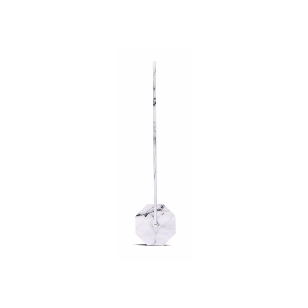 Bílo-šedá stolní lampa v mramorovém dekoru Gingko Octagon
