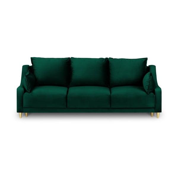 Zelená trojmiestna rozkladacia pohovka s úložným priestorom Mazzini Sofas Pansy