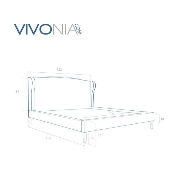 Pastelově modrá postel s přírodními nohami Vivonita Windsor,140x200cm