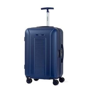 Modrý kufr na kolečkách ve stříbrné barvě Murano Meridian, 65 x 40 cm