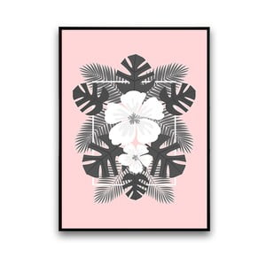 Plakát s bílými květinami, růžové pozadí, 30 x 40 cm