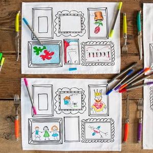 Sada 4 prostírání k vymalování Doodle, rámečky