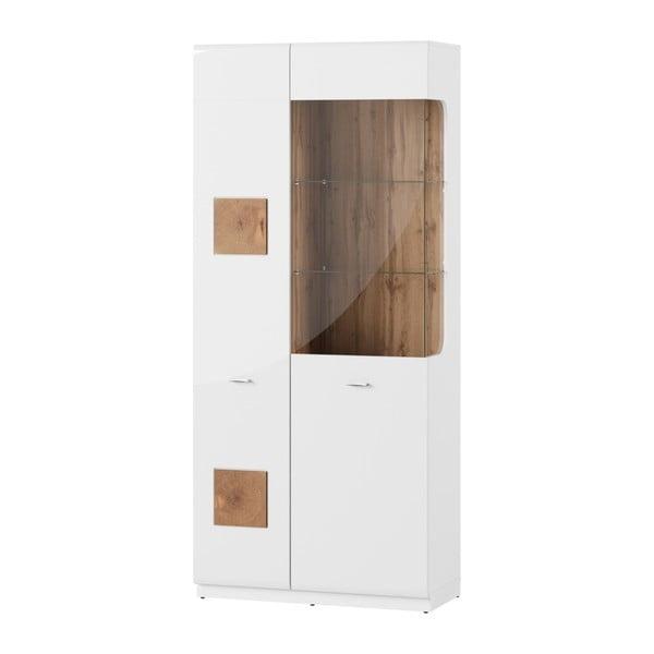 Vysoká bílá vitrína Szynaka Meble Wood