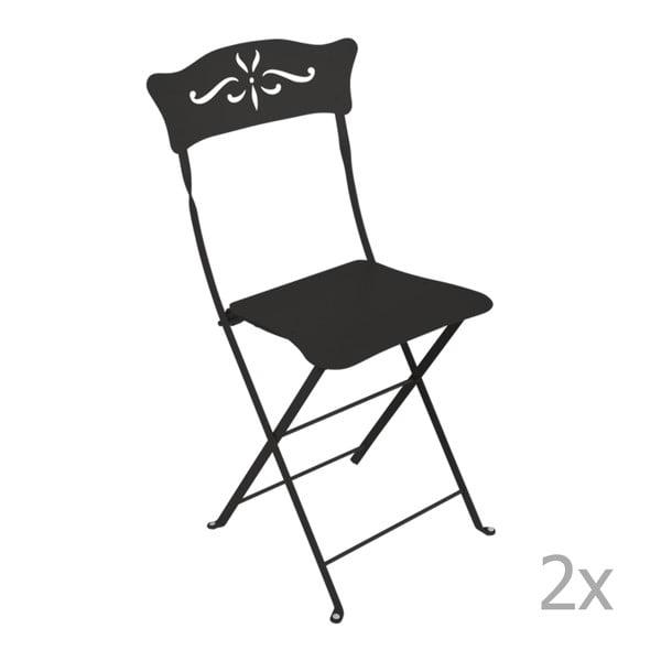 Sada 2 černých skládacích zahradních židlí Fermob Bagatelle
