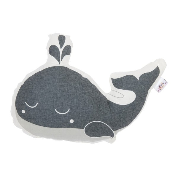 Szara poduszka dziecięca z domieszką bawełny Apolena Pillow Toy Whale, 35x24 cm