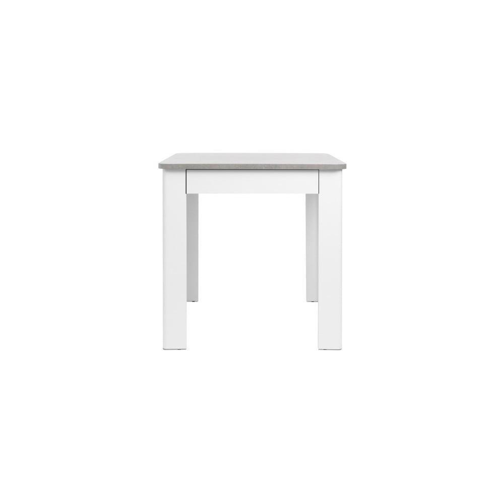 Bílý jídelní stůl s deskou v betonovém dekoru Intertrade Oslo, 80 x 80 cm