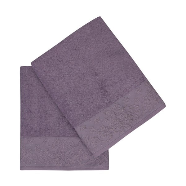 Sada 2 fialových ručníků z čisté bavlny Lisa, 90 x 150 cm