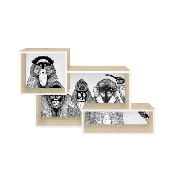 Spojená nástěnná police Monkeys