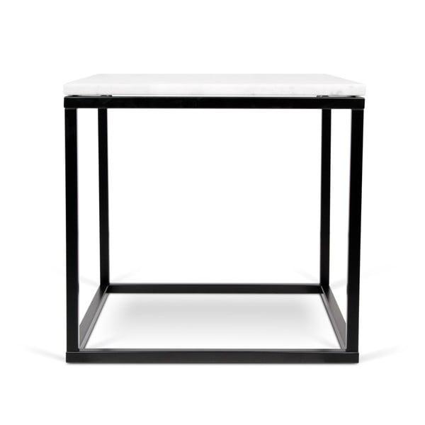 Stolik z czarną podstawą i białym blatem marmurowym TemaHome Prairie, 50x50cm