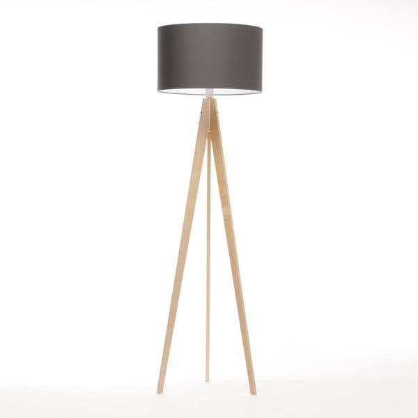 Tmavě šedá stojací lampa 4room Artist, bříza, 150 cm