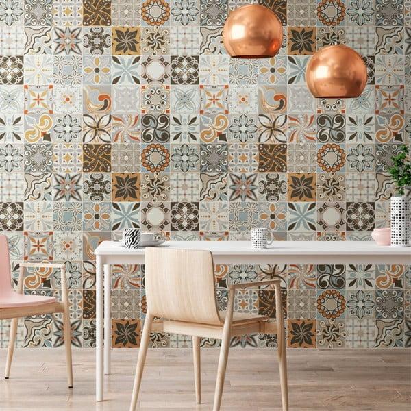 Zestaw 30 samoprzylepnych naklejek Ambiance Cement Tiles Bali, 10x10 cm