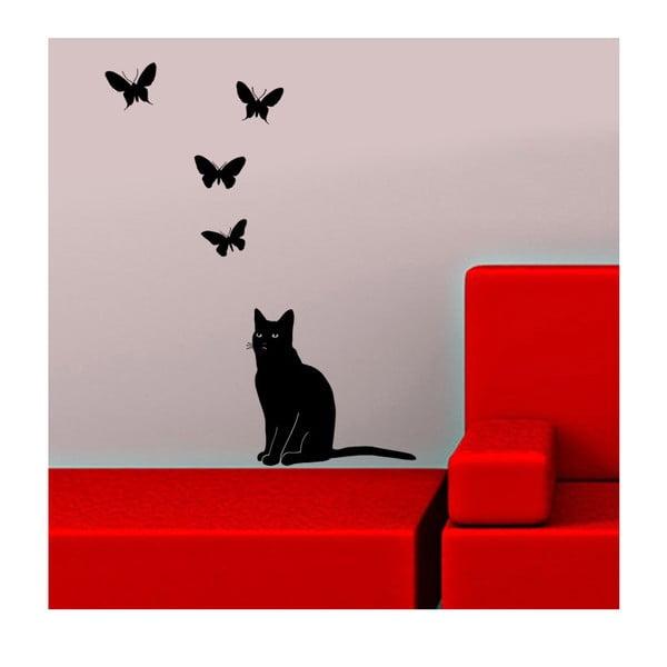 Vinylová samolepka na stěnu Kočka a motýli