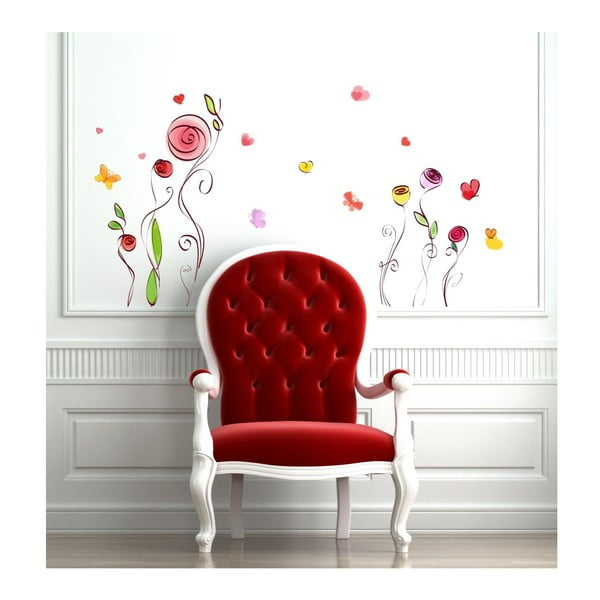 Sada samolepek Ambiance Roses And Butterflies Decals