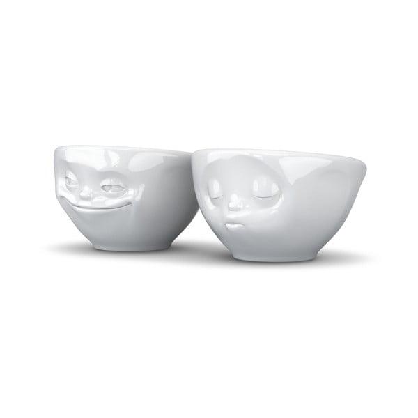 Sada 2 bílých zamilovaných malých šálků z porcelánu 58products, objem 100 ml