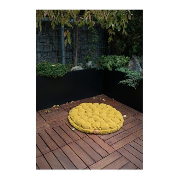 Pernă relaxare cu bile de masaj Linda Vrňáková Bloom, Ø 75 cm, galben