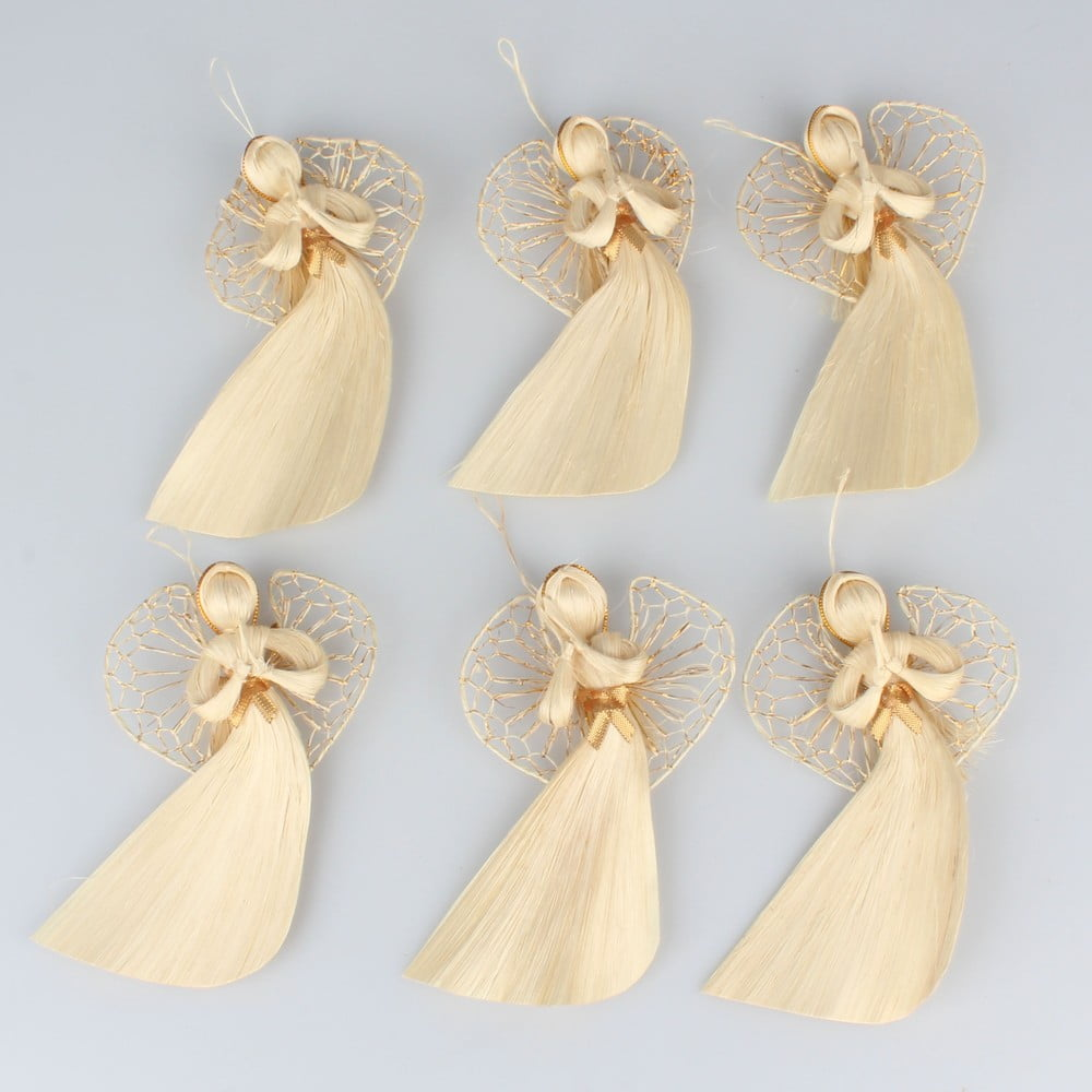 Sada šesti závěsných slaměných andílků Dakls